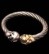 10k Gold & Silver Skull Cable Wire Bangle
