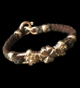 10k Pink Gold Half 4Heart Crown Braid Leather Bracelet