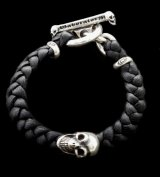 Skull On braid leather bracelet