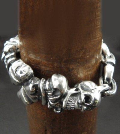 画像2: 2Skull On 4 Heart Crown & Boat Chain Links Chain Bracelet