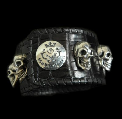 画像1: 8Skull Crocodile Leather Wrist band
