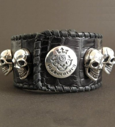 画像2: 8Skull Crocodile Leather Wrist band