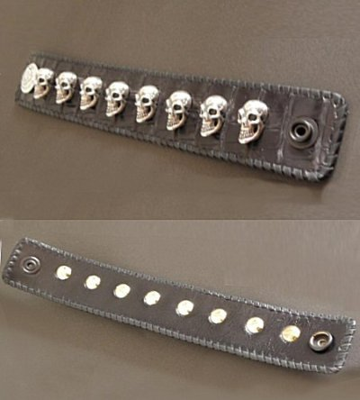 画像3: 8Skull Crocodile Leather Wrist band
