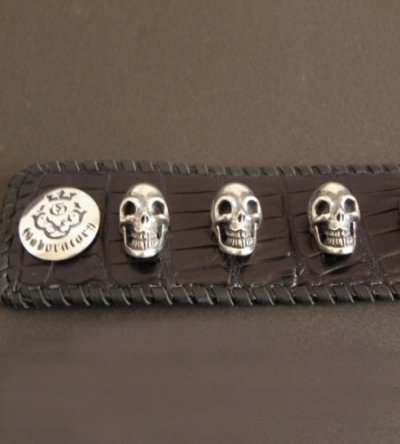 画像5: 8Skull Crocodile Leather Wrist band