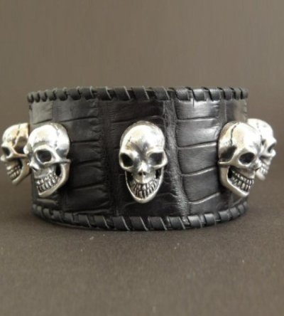 画像4: 8Skull Crocodile Leather Wrist band