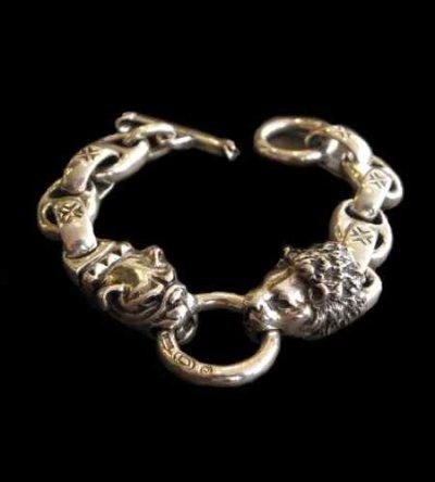 画像1: Lion & Old bulldog With H.W.O & Anchor Links Bracelet