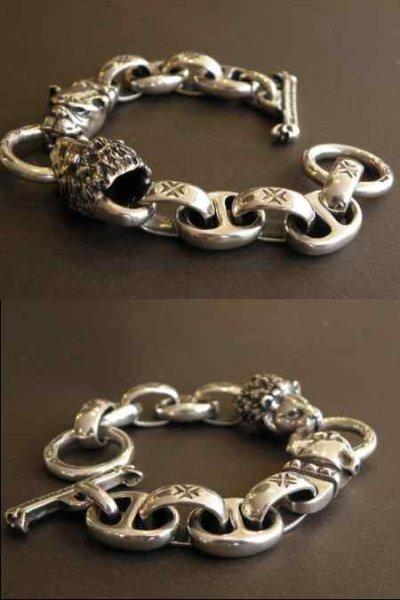 画像2: Lion & Old bulldog With H.W.O & Anchor Links Bracelet
