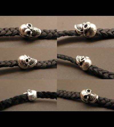 画像5: Quarter Skull On braid leather bracelet