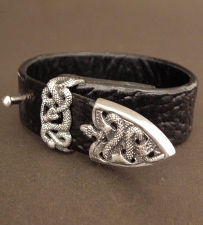 画像2: Snake Loop & Tip Leather Bracelet