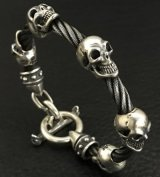 5Skulls with stud bolo neck cable wire bracelet