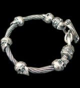 Quarter 5Skulls with stud bolo neck cable wire bracelet