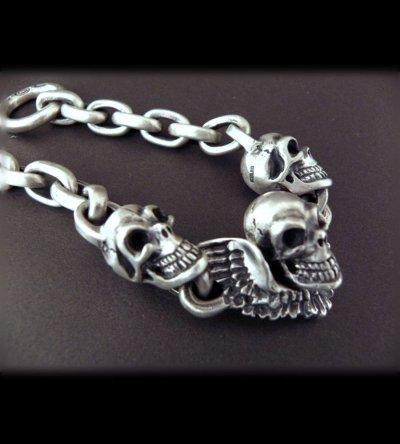 画像2: Skull wing with 2skulls bracelet