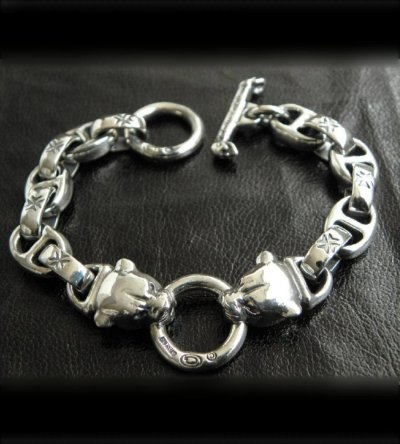 画像3: Quarter 2 panther with maltese cross H.W.O & smooth anchor chain bracelet