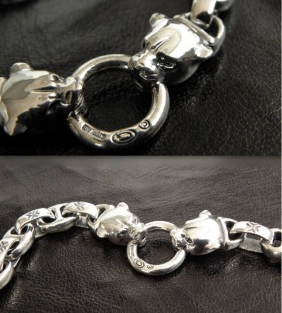 画像4: Quarter 2 panther with maltese cross H.W.O & smooth anchor chain bracelet