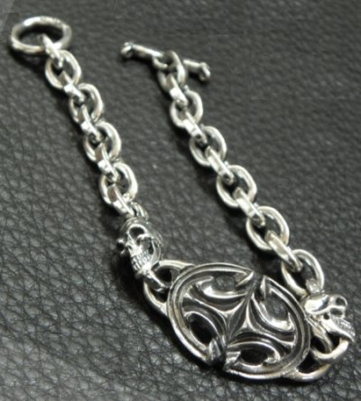 画像2: Quarter Sculpted Oval  ID With 2Skulls & Small Oval Links Bracelet