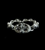 Half Sculpted Oval With 2 Old Bulldog & Smooth H.W.O, Anchor Chain Bracelet