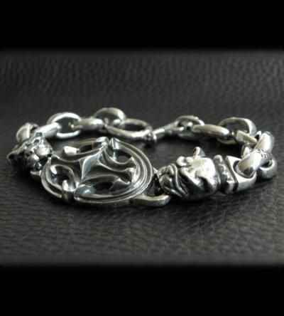 画像2: Half Sculpted Oval With 2 Old Bulldog & Smooth H.W.O, Anchor Chain Bracelet