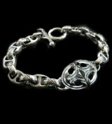 Quarter Sculpted Oval With All H.W.O & Anchor Chain Links Bracelet
