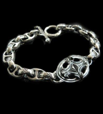 画像1: Quarter Sculpted Oval With All H.W.O & Anchor Chain Links Bracelet