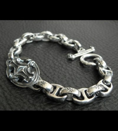 画像2: Quarter Sculpted Oval With All H.W.O & Anchor Chain Links Bracelet