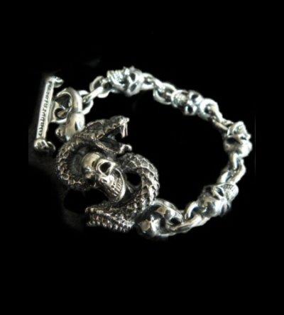 画像1: Half Snake Born With 4Skulls Bracelet
