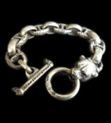Panther With Smooth H.W.O & Textured Anchor Chain Links Bracelet