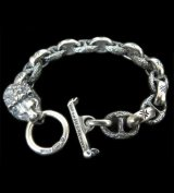 Lion With H.W.O & Chiseled Anchor Links Bracelet