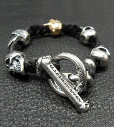 画像2: 18k Gold Single Skull In All Skull Links Braid Leather Bracelet