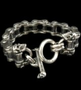 Heavy Wide Small Bike Chain With 4Skulls D-Loop Bracelet