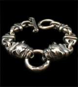 2 Bulldogs With 4 Boat Chain Links Bracelet