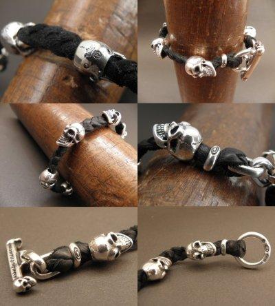 画像4: Half size 6 skulls braid leather bracelet