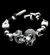 Skull On Snake With 2Skull On braid leather bracelet