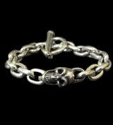 Single Slant Head Skull With Small Oval Chain Links Bracelet