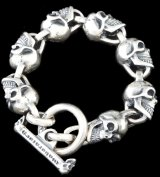 All Slant Head Skulls Link Bracelet