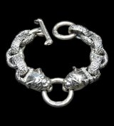 Bulldog With Chiseled H.W.O & Chiseled Anchor Links Bracelet