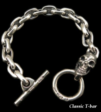 画像1: Single Skull With Small Oval Links Bracelet