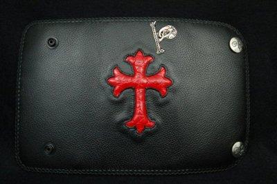 画像5: Crocodile Cross Inlay Buffalo Long Wallet