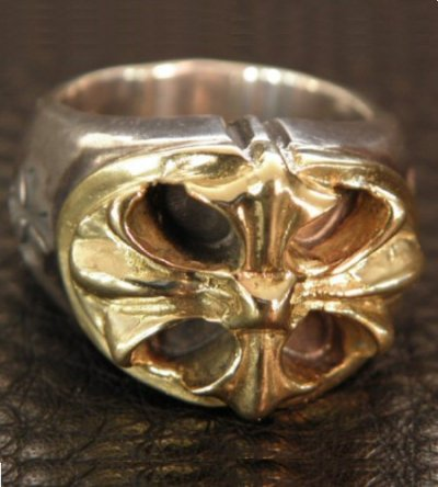 画像2: 10k Gold Cross Oval On Silver Ring
