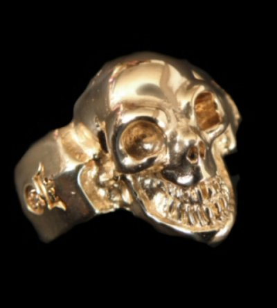 画像1: Gold Single Skull Ring
