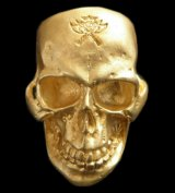 Gold Large Skull Ring With Jaw (Mat Color Finish)