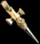 18k Gold Single Skull Dagger Square Bottom Pendant