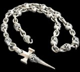 Half Single Skull Dagger Square Bottom & H.W.O With Quarter Skull & Small Oval Links Necklace