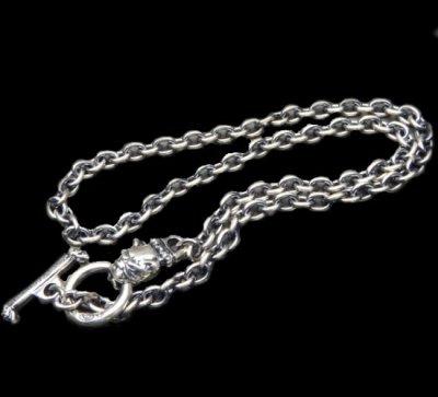 画像1: 6Chain with quarter old bulldog & quarter T-bar necklace