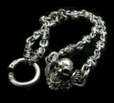 C-ring With Skull Wing & Quarter Skulls Half Small Oval Links Necklace
