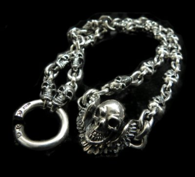 画像1: C-ring With Skull Wing & Quarter Skulls Half Small Oval Links Necklace