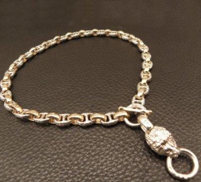 画像2: Medium Platinum Finish Lion With Quarter 10k Gold H.W.O & Anchor Chain Links Necklace