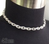 Half Small Oval Chain & Half T-bar Necklace (Platinum Finish)