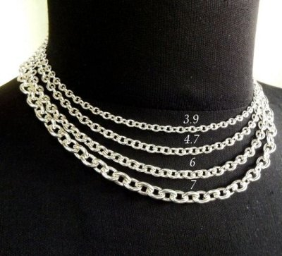 画像2: 7Chain & Half T-bar Necklace (Platinum Finish)