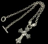 4Heart Crown Cross With 2 Bulldogs & 7Chain Necklace