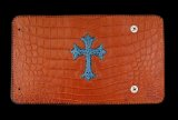 Frog Cross Inlay Crocodile(Belly) Long Wallet